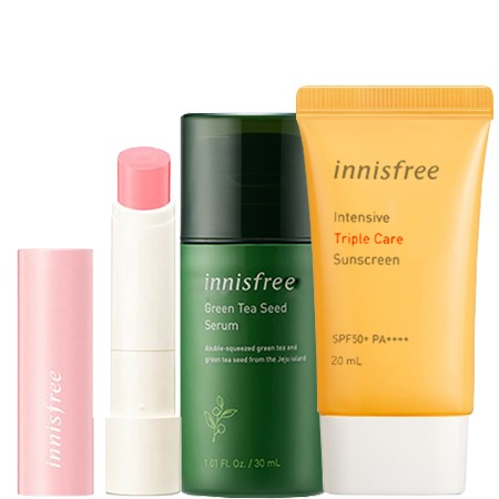 Innisfree Innisfree Set 1 Green Tea Seed Serum 30 ml. + Intensive Triple Sunscreen SPF50 pa+++ 20ml (No Box) + Glow Tint Lip Balm 3.5g #1